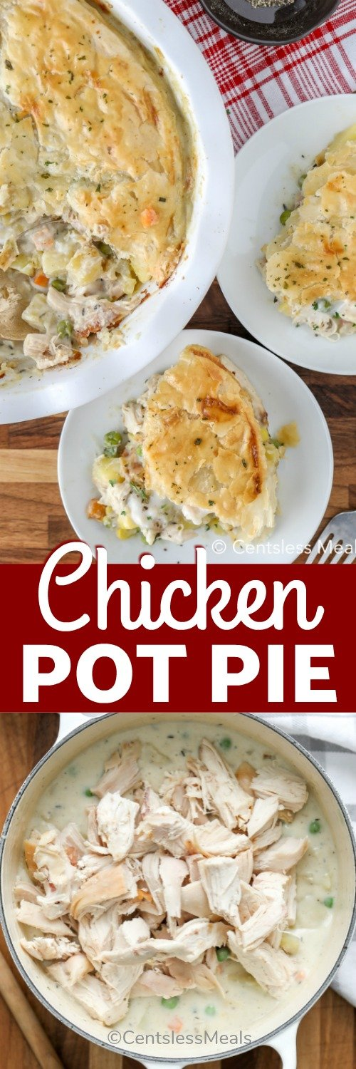 Chicken pot pie in a pot and on plates with a title
