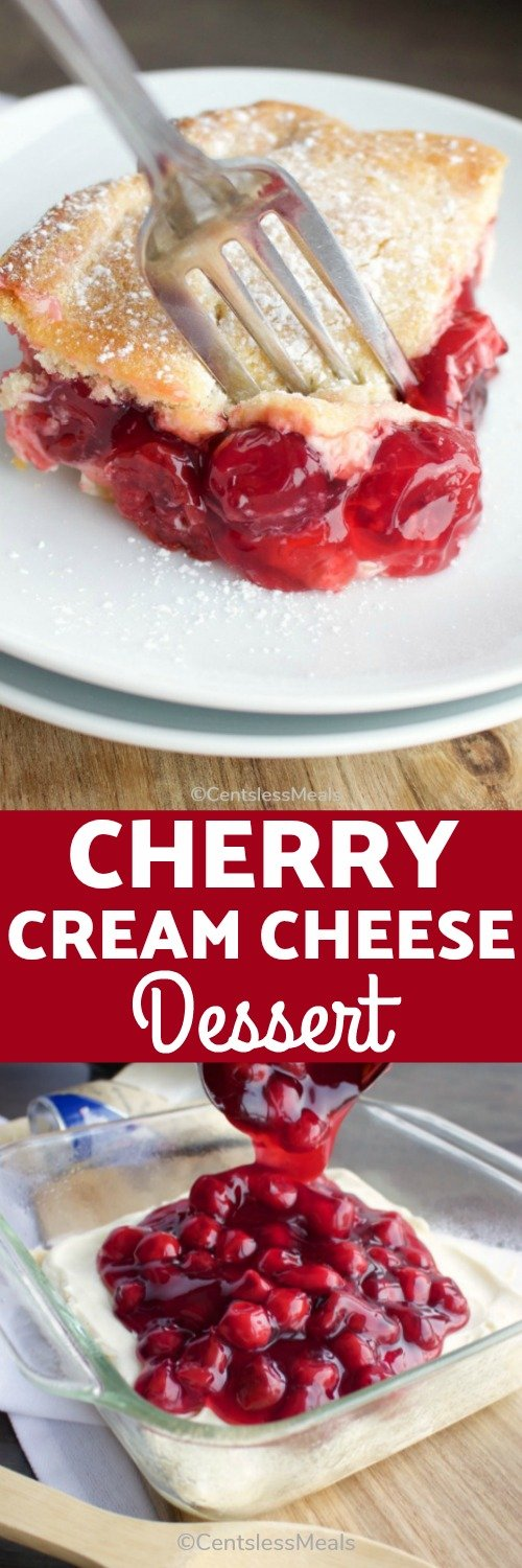 Everyone loves this simple Cherry Cream Cheese Dessert! Layers of smooth cream cheese, sweet and tart cherry pie filling and crescent rolls are topped with a delicious sugary topping. #centslessmeals #cherrycreamcheesedessert #cherrycreamcheesebars #cherrycreamcheesepie #cherrycreamcheesebake #dessert #easydessert #dessertbars