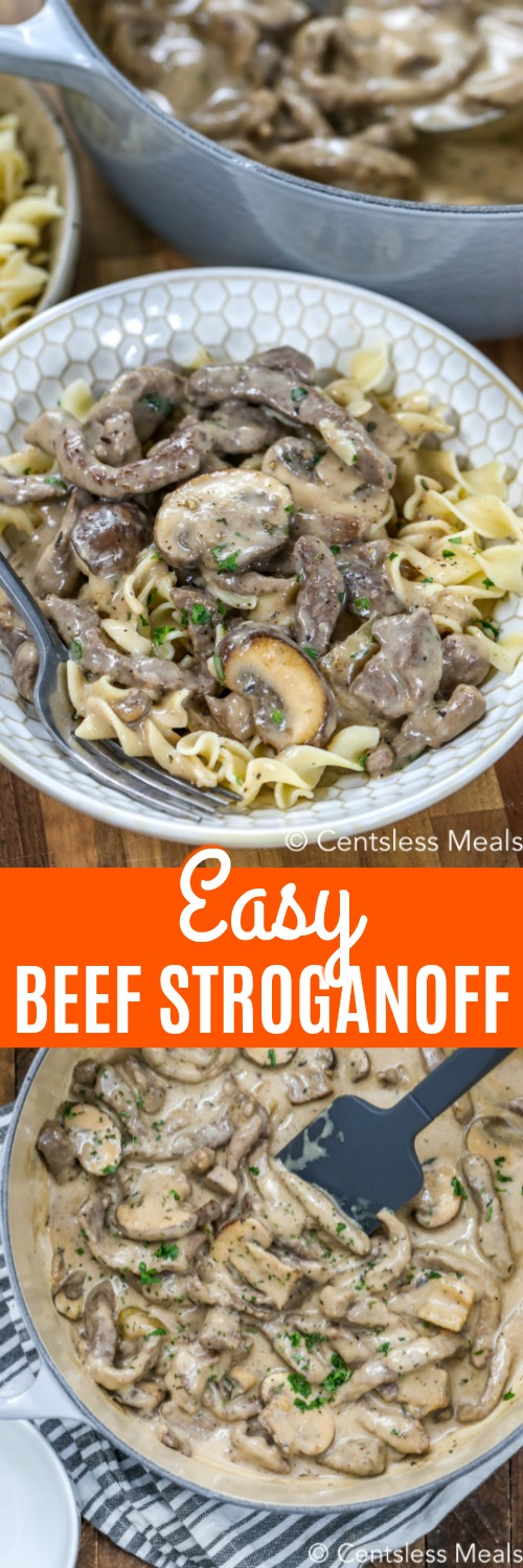 A creamy beef stroganoff recipe is a household staple. This easy recipe is made with steak, mushrooms, sour cream and a mushroom soup sauce.  Serve it over a bed of noodles or rice for the perfect weeknight meal. #centslessmeals #beefstroganoff #maindish #kidfriendly #stroganoffrecipe #stovetop