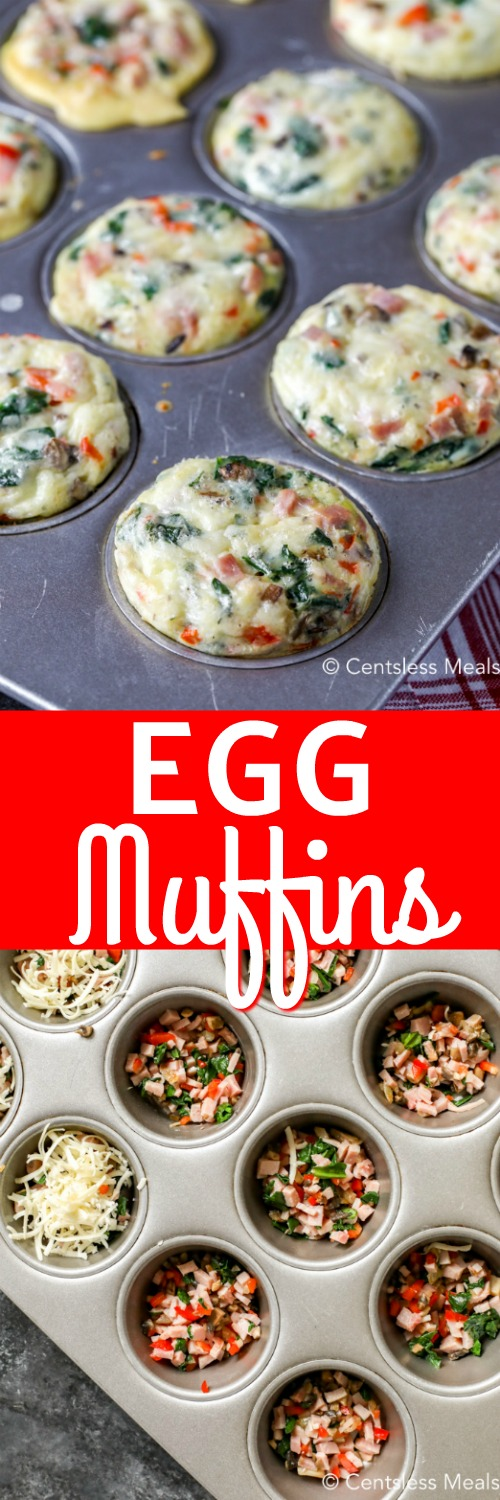 Egg muffins cooked in a muffin tin and the egg muffin fillings in the bottom of a muffin tin.