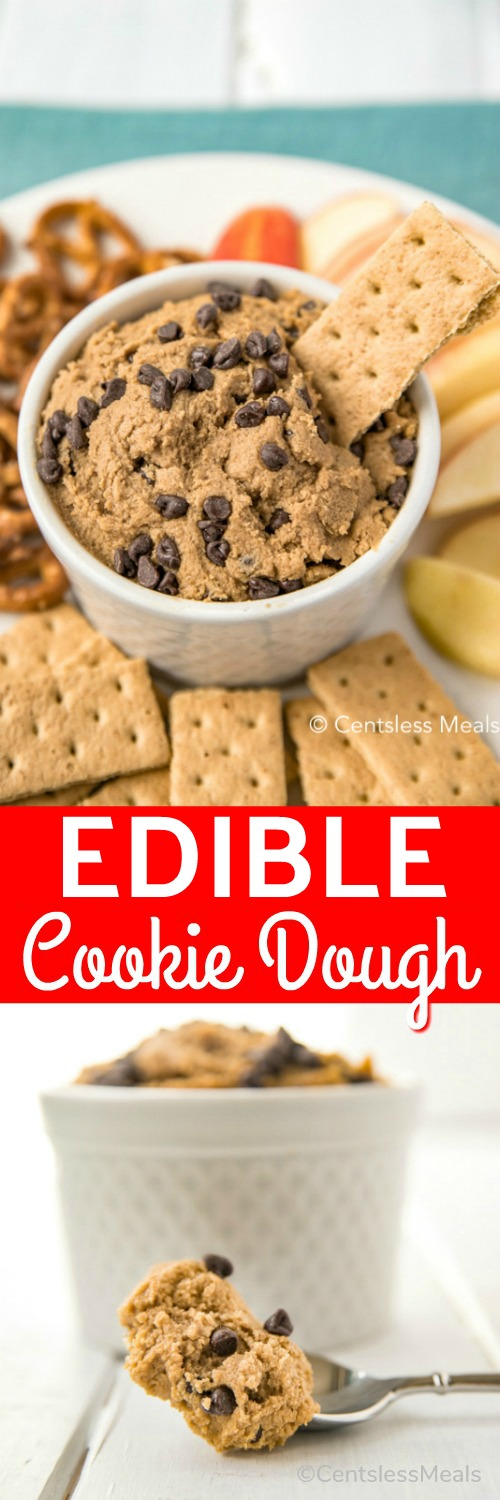 Edible cookie dough in a bowl with crackers and fruit and a title