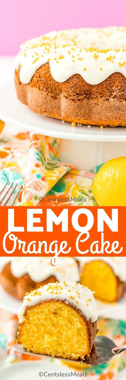 Lemon orange cake on a plate and a slice of lemon orange cake on a spatula with a title