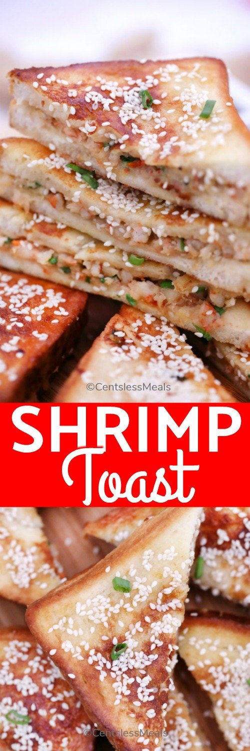 Shrimp toast on a wooden board with a title