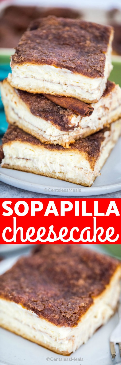 Sopapilla Cheesecake is a delicious dessert that is moist, rich and filled with cream cheese. Is the perfect cheesecake to enjoy with your friends and family any time of the year. #centslessmeals #sopapillacheesecake #dessert #cheesecakes #easyrecipe #cheesecakebars #easydessert