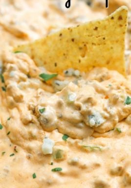 Buffalo sausage dip with a tortilla chip and a title