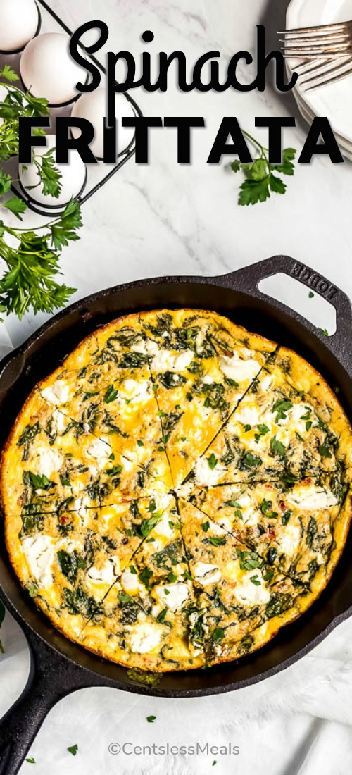 A spinach frittata in a cast iron frying pan.