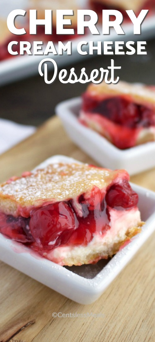 Cherry Cream Cheese Dessert bars served in small white square dishes