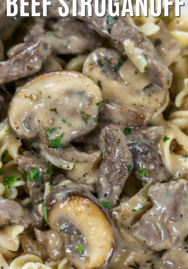 Easy beef stroganoff in a bowl with a title
