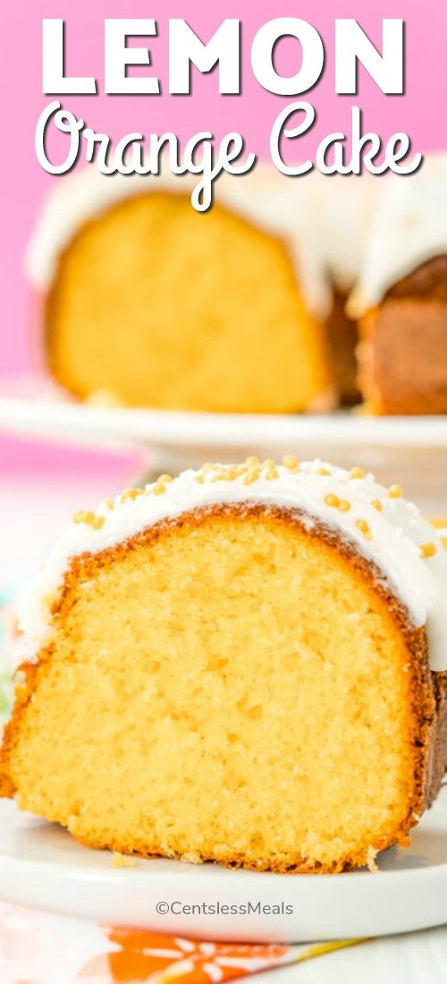 Slice of lemon orange cake on a plate with a title
