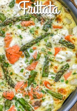 Salmon asparagus frittata in a pan with writing