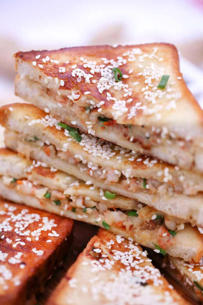 Chinese Shrimp Toast with sesame seeds and green onions
