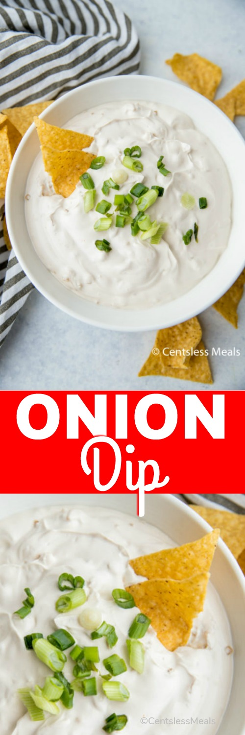 This easy onion dip is the perfect game day appetizer! We love serving this creamy dip alongside some tortilla chips. #centslessdeals #oniondip #dip #creamydip #easydip #appetizers #dippers