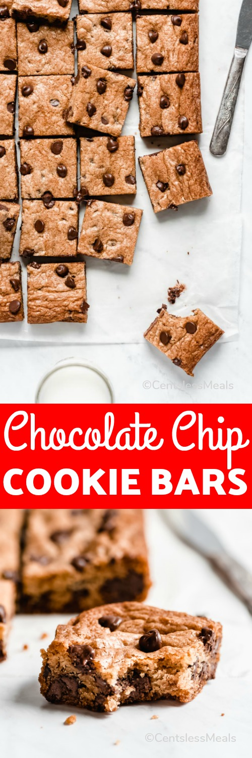 This Chocolate Chip Cookie Bar Recipe is a great way to enjoy a delicious chocolate chip cookie without all the work! #centslessmeals #chocolatechip #cookies #bars #easydessert #chocolatechipcookies #dessertbars
