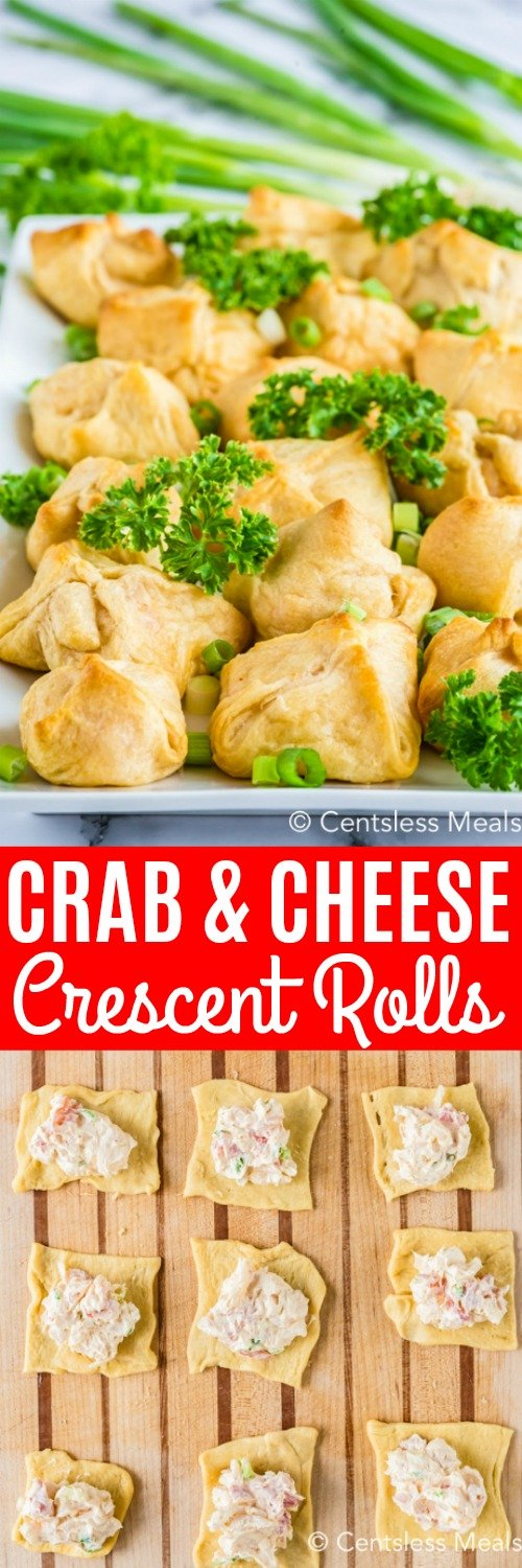 Homemade crab and cream cheese filled crescent rolls are a tasty appetizer or snack! The filing is made with cream cheese, mayonnaise, and green onions and baked in pastry dough or wontons. They are a super easy appetizer that my family loves!  #spendwithpennies #crabandcreamcheesescrescentrolls #crabrangoon #snack #appetizer
