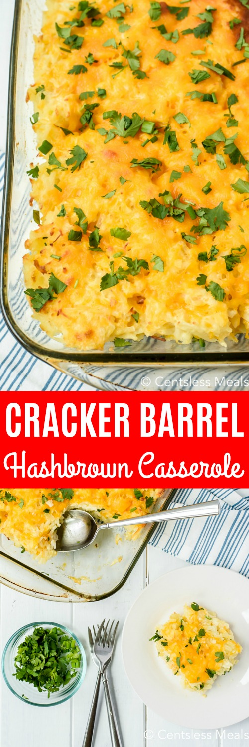 Cracker Barrel hashbrown casserole in a casserole dish and on a plate with a title