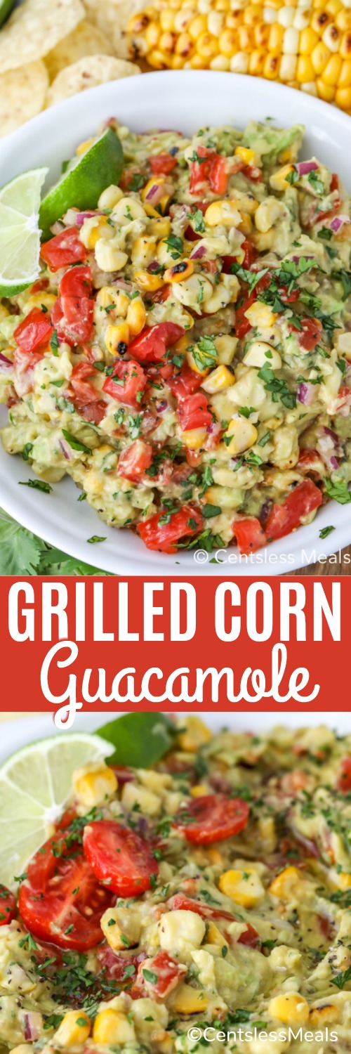 Fire grilled corn guacamole is my favorite to serve with nachos, tacos or really any Mexican inspired dish! It's easy to make and packed with flavor making it a crowd pleaser. #centslessmeals #grilledcornguacamole #sidedish #dip #dressing #Mexican #easyrecipe