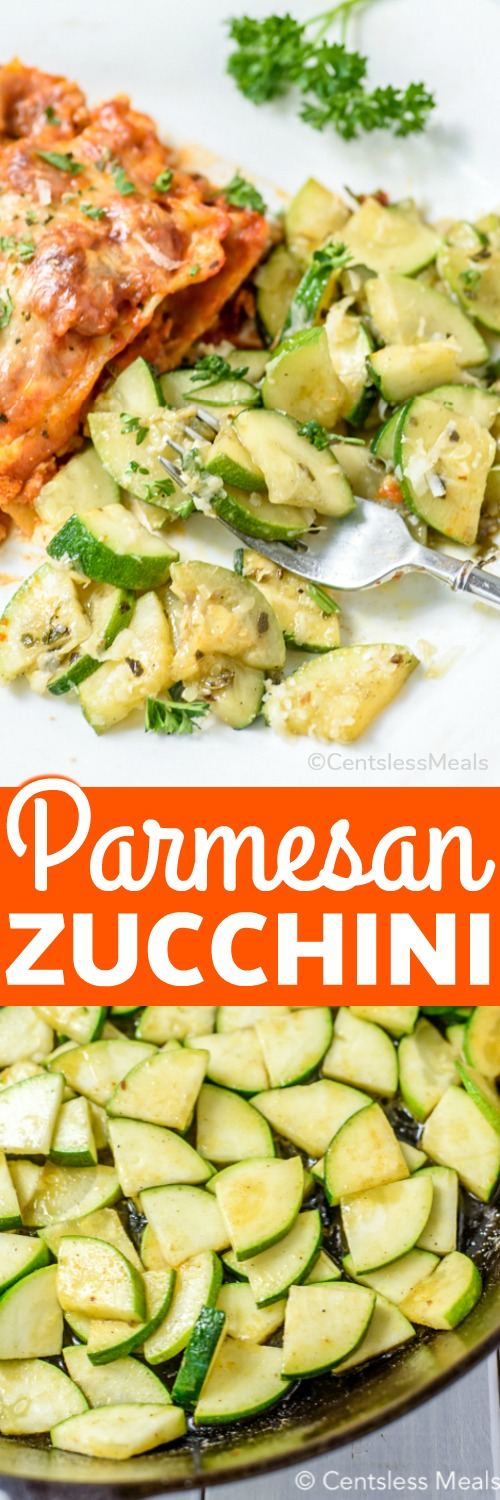This easy parmesan zucchini recipe uses only 4 ingredients - zucchini, parmesan, garlic salt, and olive oil! Baked, sauteéd or broiled this recipe is ready in under 20 mins and is a healthy alternative to heavier pasta or bread-based side dishes! #centslessmeals #parmesanzucchini #sidedish #sauteed #baked #healthyrecipe