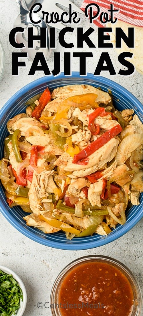 Crock-Pot chicken fajitas in a bowl with a title