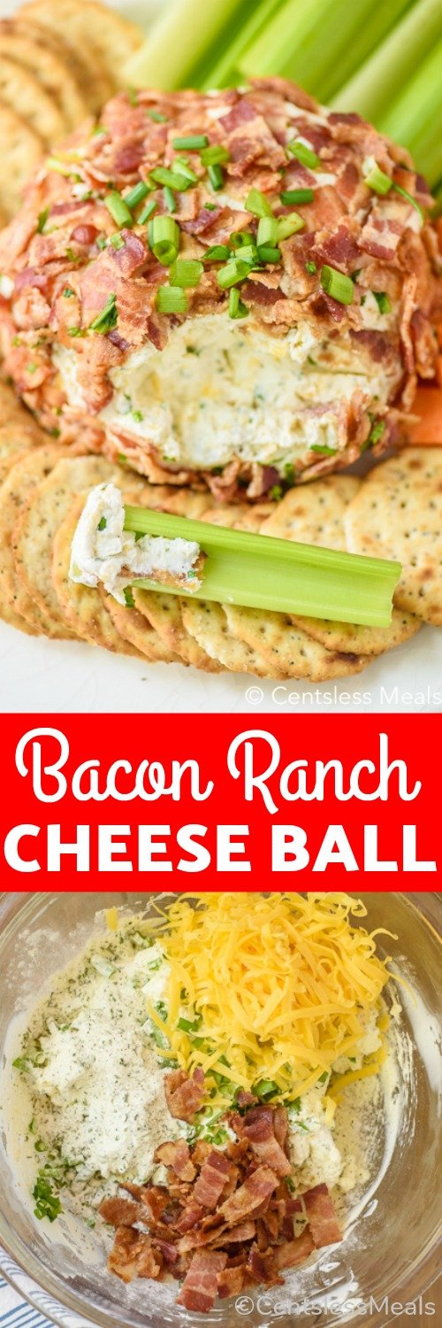 Bacon Ranch Cheeseball on a plate with crackers, celery and carrots, ingredients for bacon ranch cheeseball in a bowl