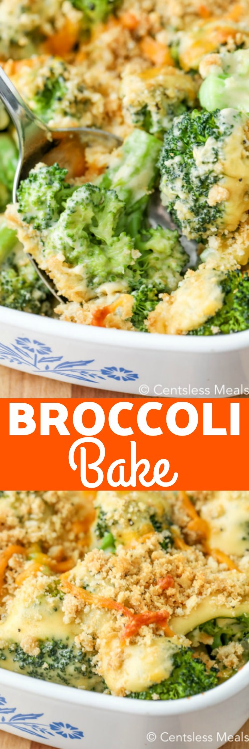 Top photo shows Broccoli Bake being served with a silver spoon. Bottom photo shows the casserole in a white baking dish