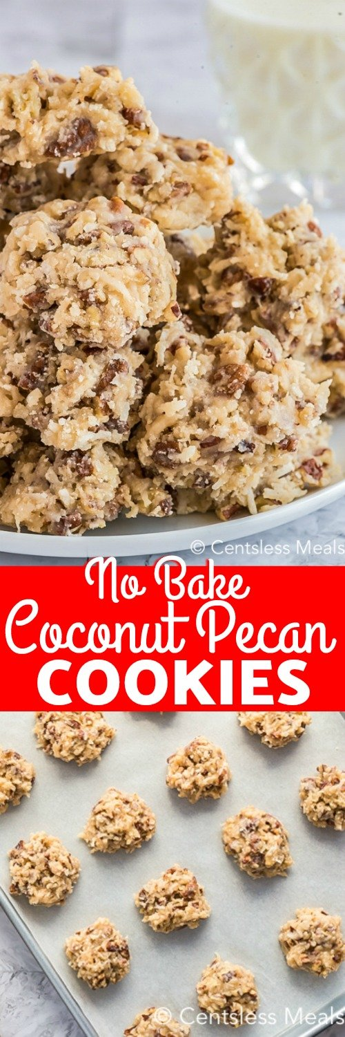 Coconut pecan cookies are a chewy homemade sweet treat that is perfect for summer. Made with shredded coconut and chopped pecans these easy cookies are made even better by being no-bake! #centslessmeals #coconutpecancookies #nobake #cookierecipe #dessert