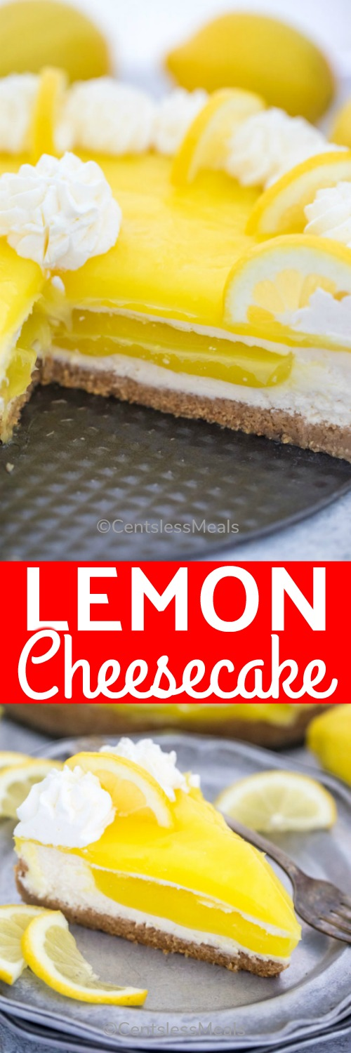 Lemon Cheesecake is the perfect summer dessert that is citrusy, creamy, and incredibly flavorful. It is a great cheesecake to enjoy after a nice dinner or at a special occasion. #centslessmeals #lemoncheesecake #baked #easycheesecake #lemoncheesecakerecipe #easydessert #makeahead #summerdessert