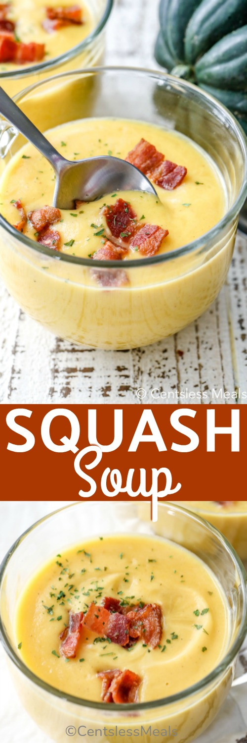 Squash Soup in a glass bowl with bacon garnish, one with a spoon, one without