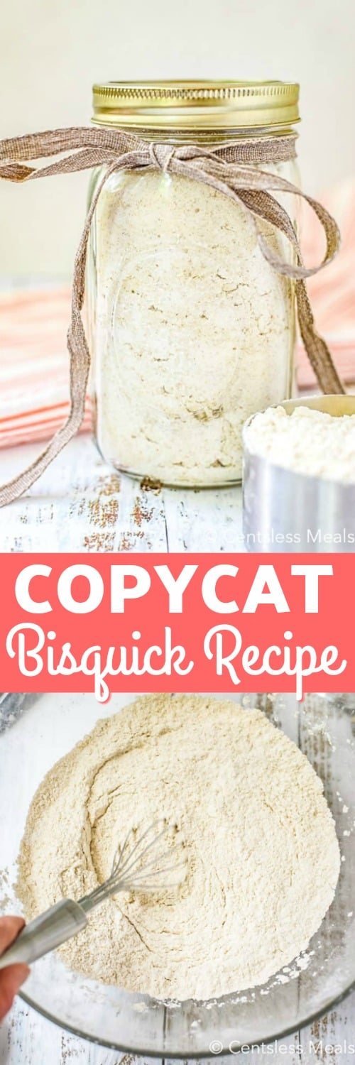 Copycat Bisquick recipe ingredients in a clear bowl with a whisk and in a mason jar with a title