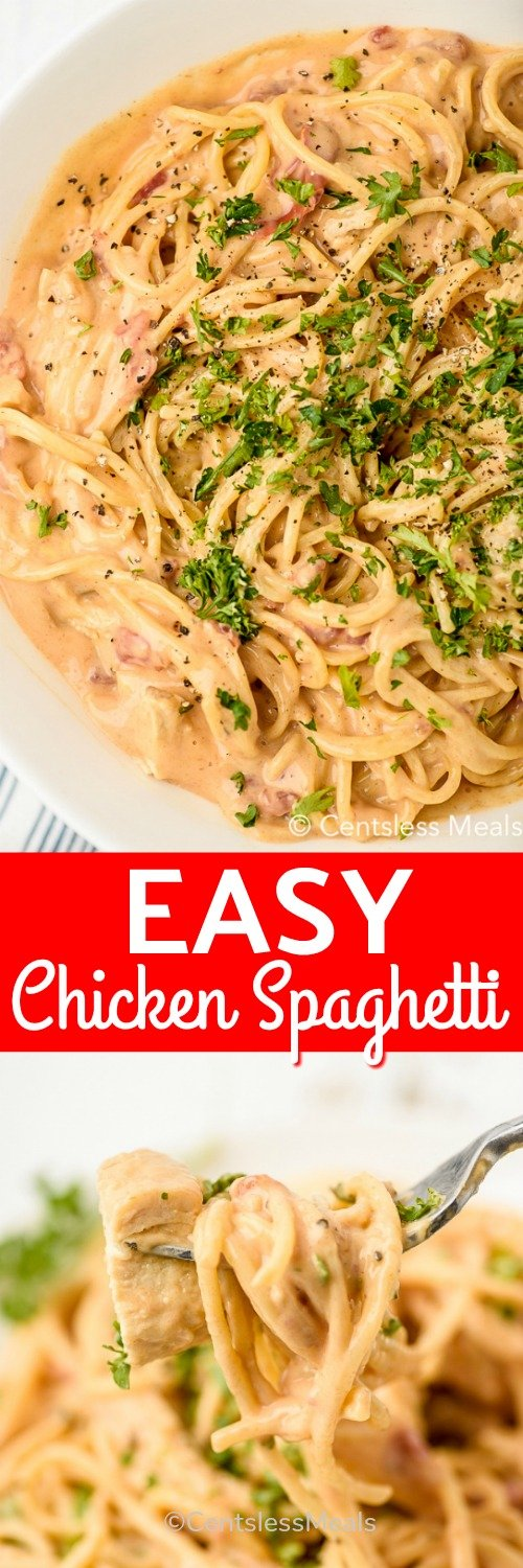 Chicken Spaghetti is an easy meal that can be made in the slow cooker or on the stove top! It's always a hit with its creamy cheesy Velveeta sauce. #centslessmeals #chickenspaghetti #stovetop #crockpot #slowcooker #kidfriendly #30minmeal