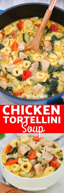 Chicken Tortellini Soup in a pot.