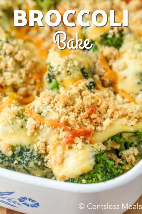 Broccoli cheese casserole in a white baking dish