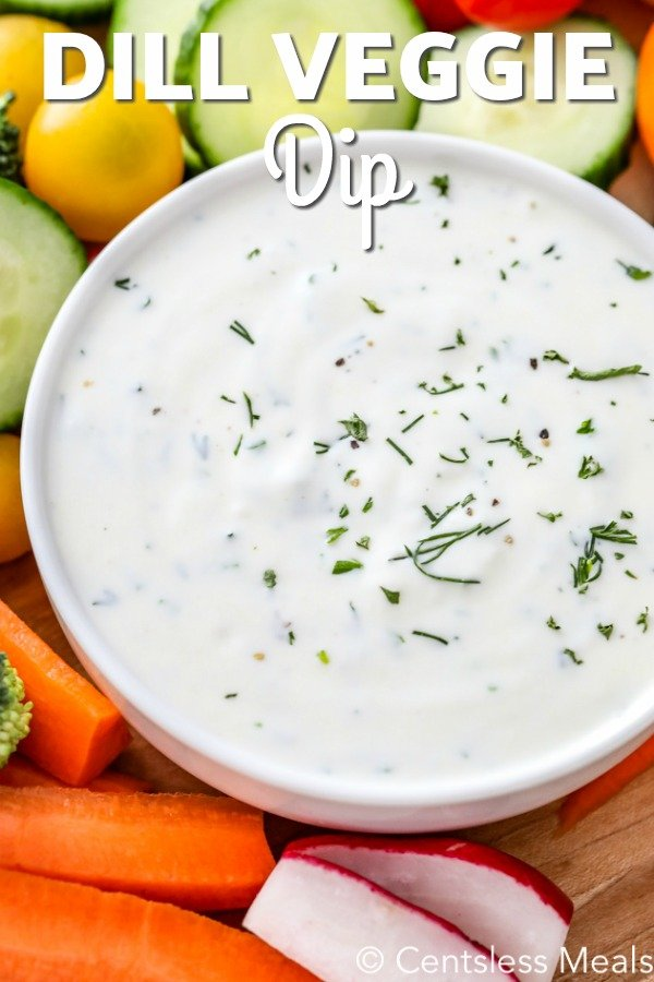 Dill Veggie Dip in a white bowl