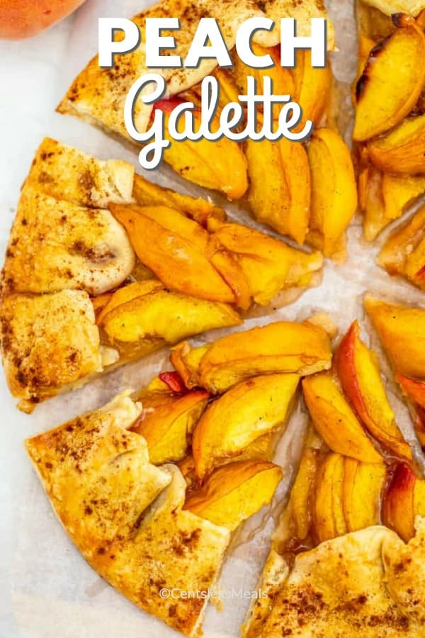 Peach Galette on a serving platter
