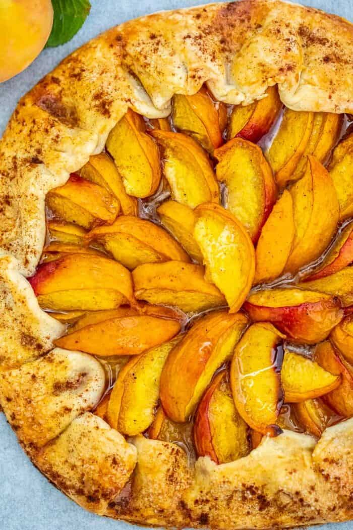 Peach Galette on a serving tray.