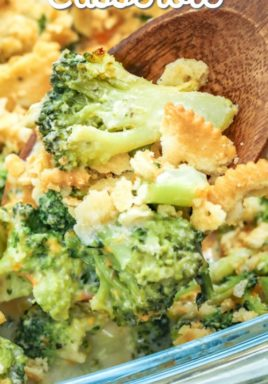 taking a scoop of Broccoli Casserole with cracker crumb topping