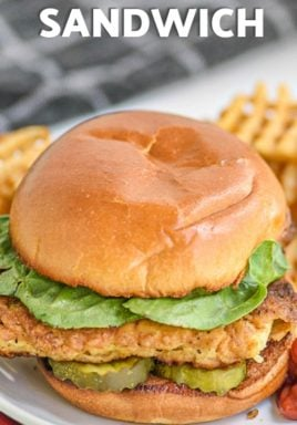 sideview of Copycat Chick-Fil-A Sandwich on a plate