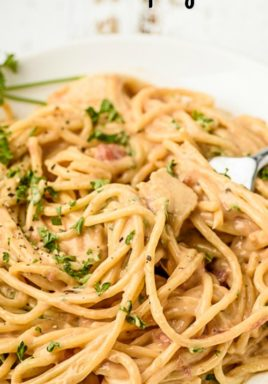 Chicken spaghetti on a plate with a title