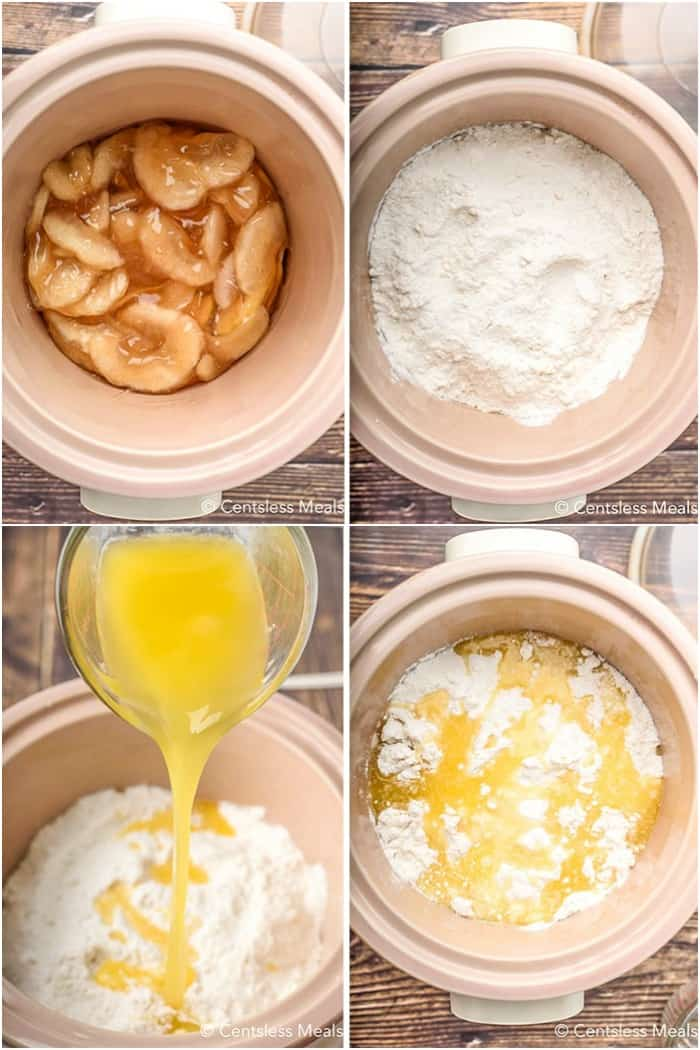4 process photos showing the stages of preparation for this apple cobbler recipe made in the slow cooker.