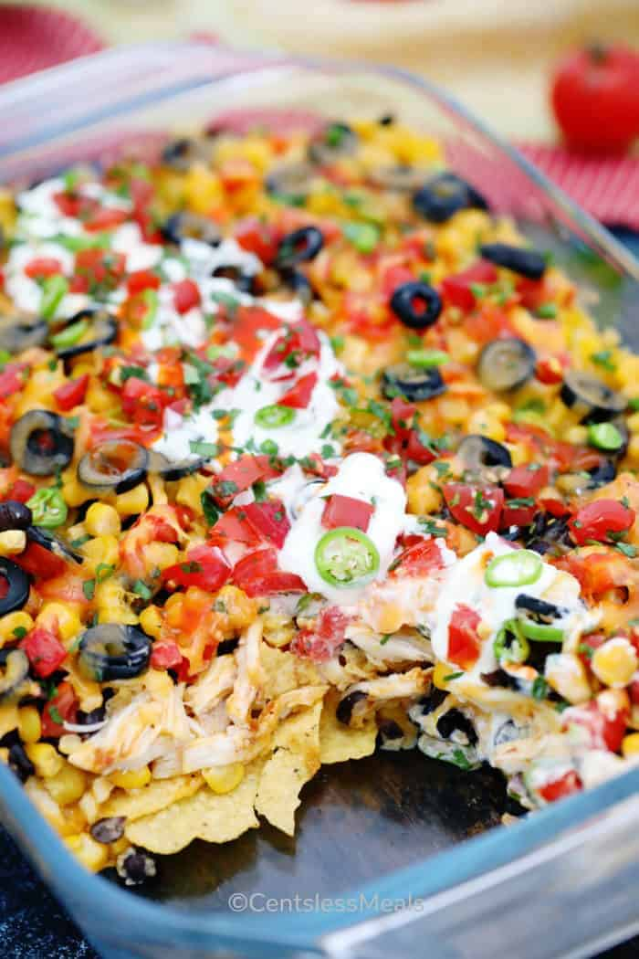 Chicken nachos with a serving removed