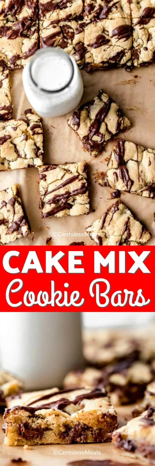 Cake mix cookie bars with milk and writing