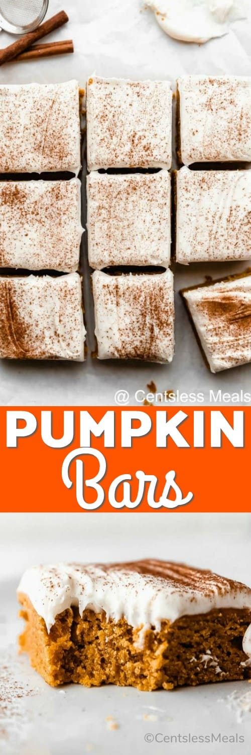 Squares of pumpkin bars on parchment paper and one pumpkin bar with a bite taken out with a title