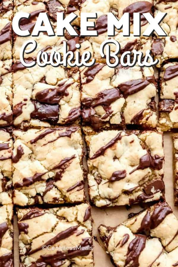 Cake mix cookie bars with writing
