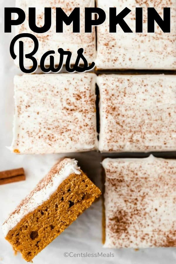 Pumpkin bars with a title
