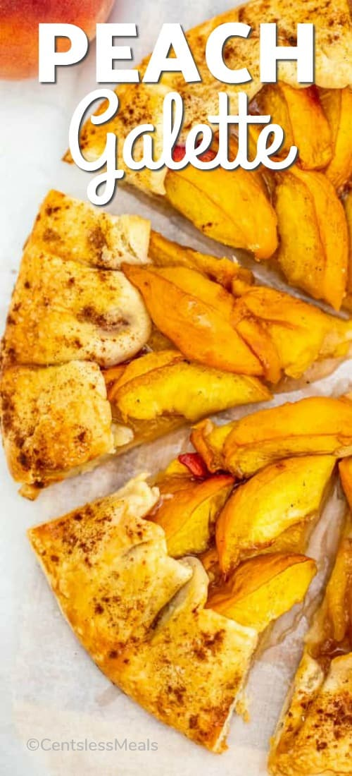 Peach Galette cut in wedges