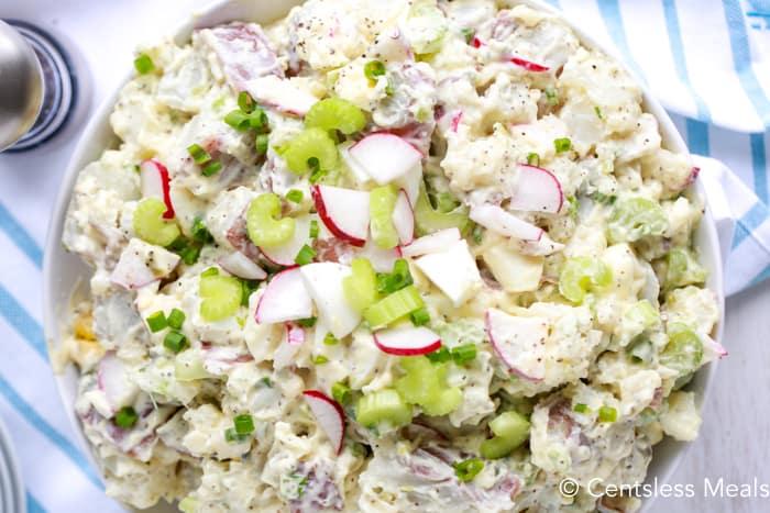 Top view of potato salad