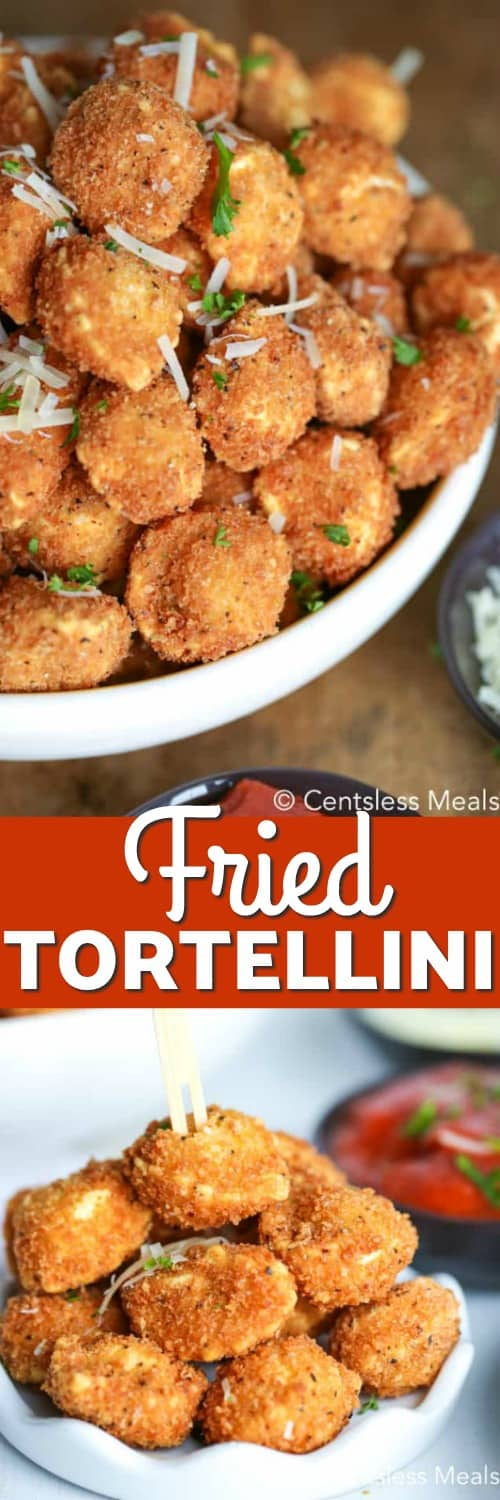 Fried tortellini in a bowl and in a dish with a title