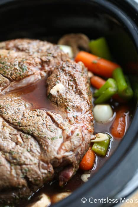 Close up of pot roast in the slow cooker.