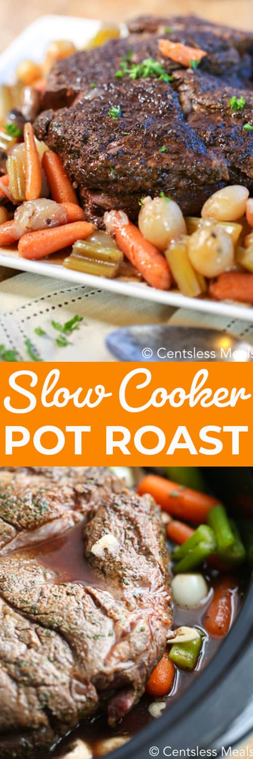 Top photo - pot roast on a serving tray with roast carrots, potatoes and celery. Bottom photo - the pot roast is in the slow cooker, surrounded with vegetables.