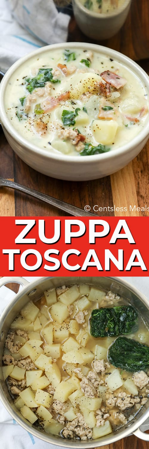 Zuppa Toscana in a pot and in a bowl with writing