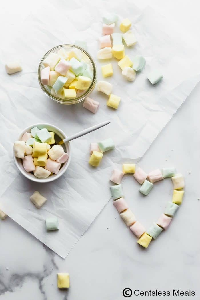 Butter mints on a marble board and in a clear jar